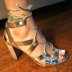 Banana Republic Gold Gladiator Block Heel Sandals